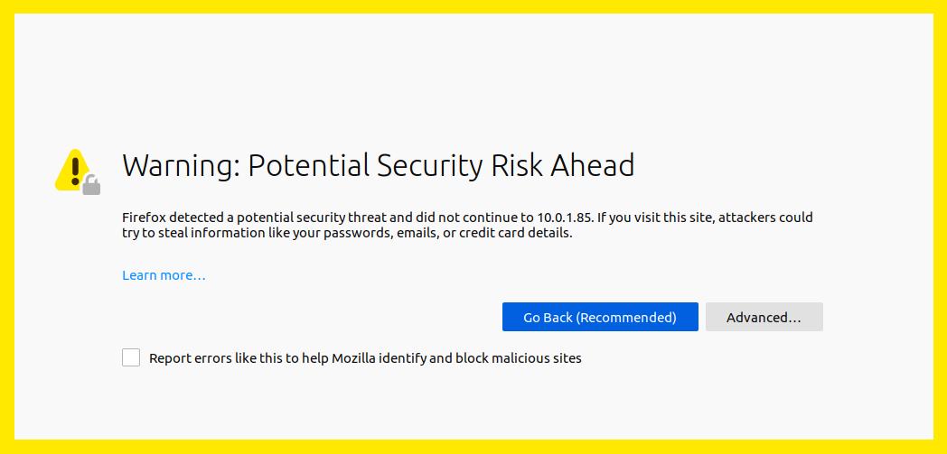 Firefox certificate warning.