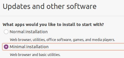 Ubuntu 20.04, minimal installation selected during installation.