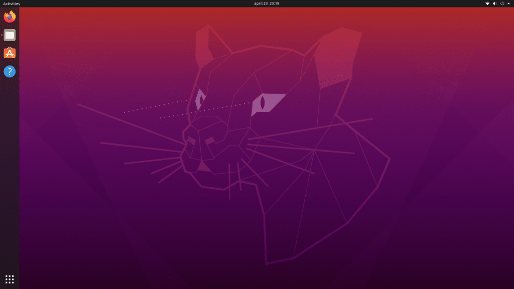 Ubuntu 20.04 desktop without icons.