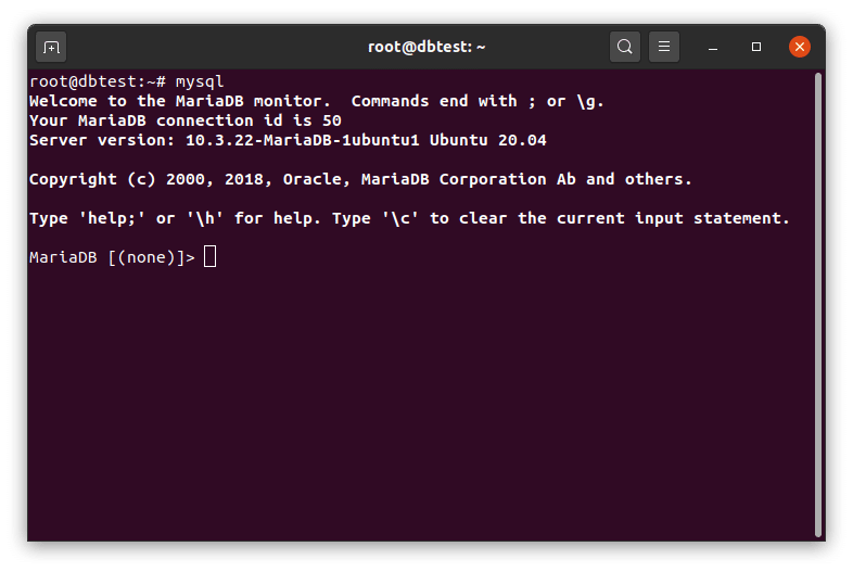 Terminal with MariaDB prompt.