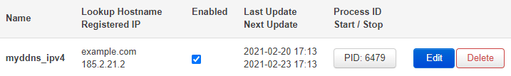 Image showing that the IP and when it was last updated.