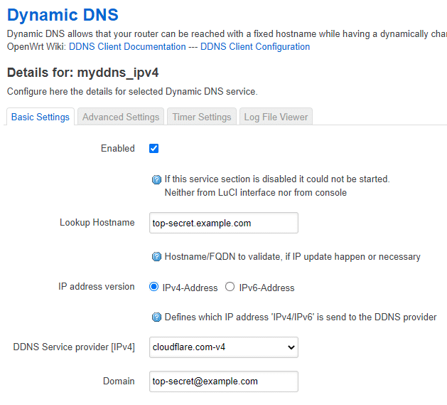 Changing the DDNS lookup hostname and Domain in OpenWRT.
