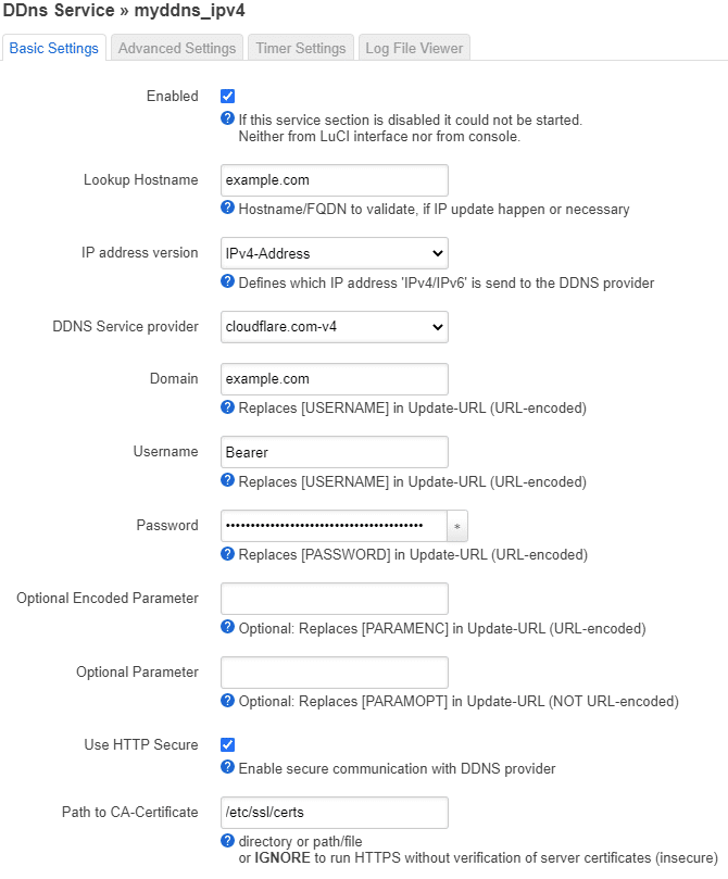 Example of how the page might look when you have entered your settings.